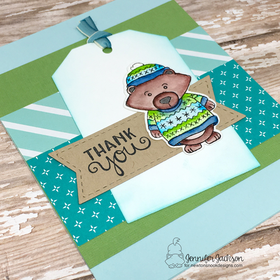 Bear in Sweater Thank You Card by Jennifer Jackson | Sweater Weather Stamp Set by Newton's Nook Designs #newtonsnook #handmade