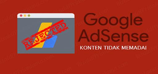 Beberapa Kriteria Penolakan Google Adsense dan Solusinya