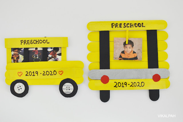 2 types of picture frame inspired by school bus displaying back to school pictures