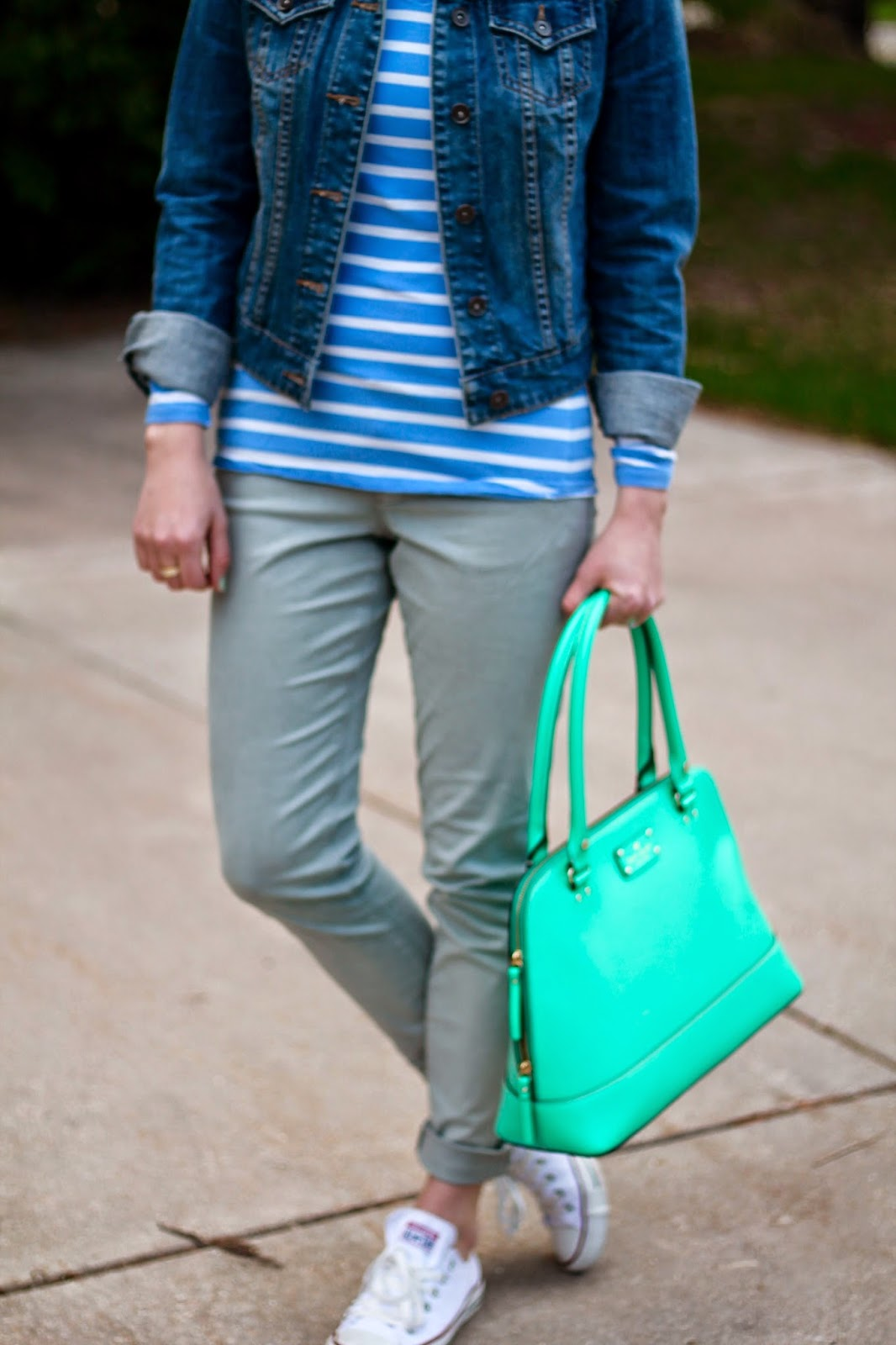 grey jeans paste blue striped top denim jacket, converse, mint kate spade bag