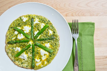 Ramp Pesto Omelette with Asparagus and Goat Cheese