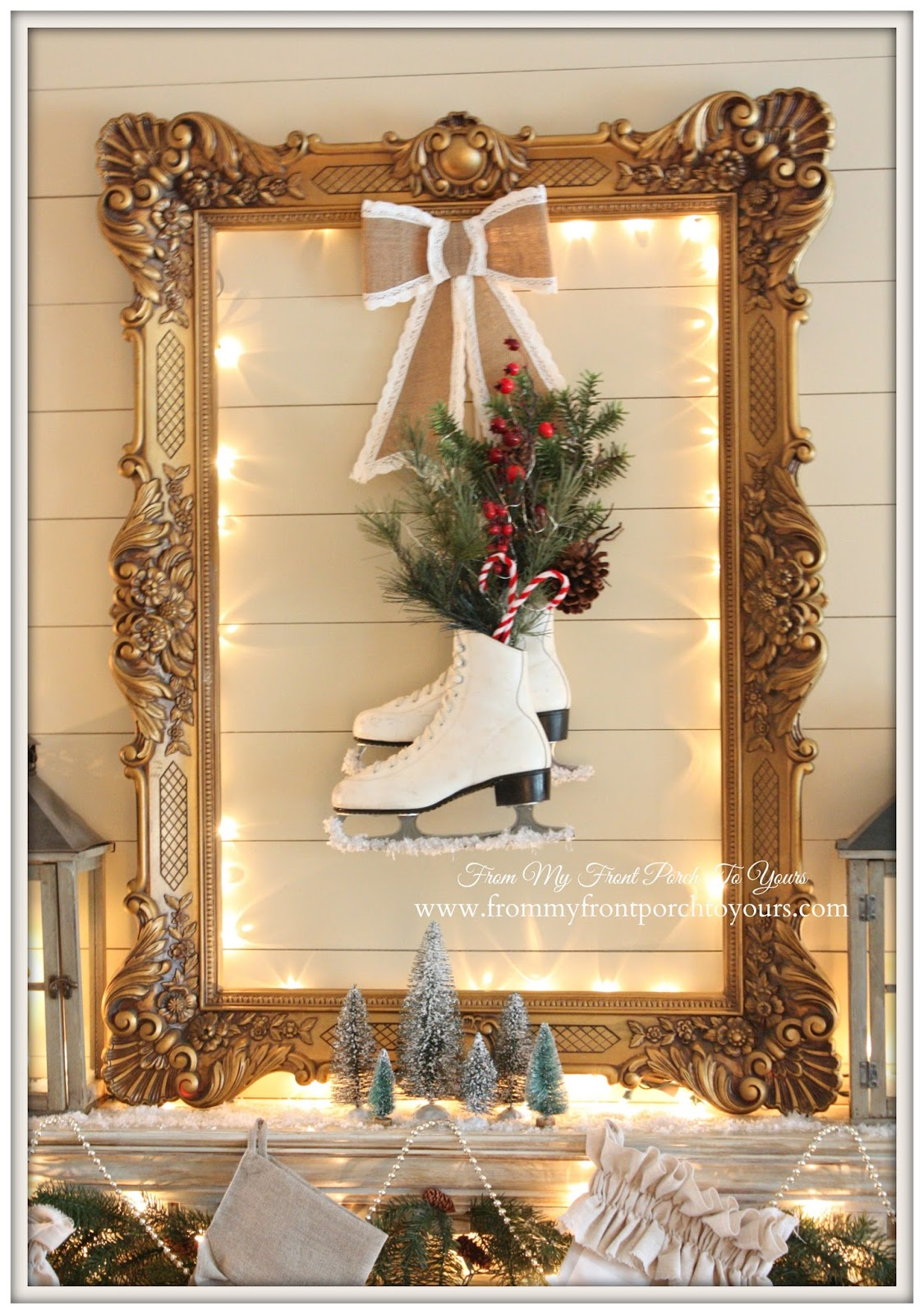 Ice Skates-Christmas Mantel 2014- French Country-Farmhouse-From My Front Porch To Yours