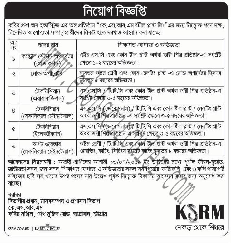 KSRM Job circular of 2019 kabir group of industry - Educational and