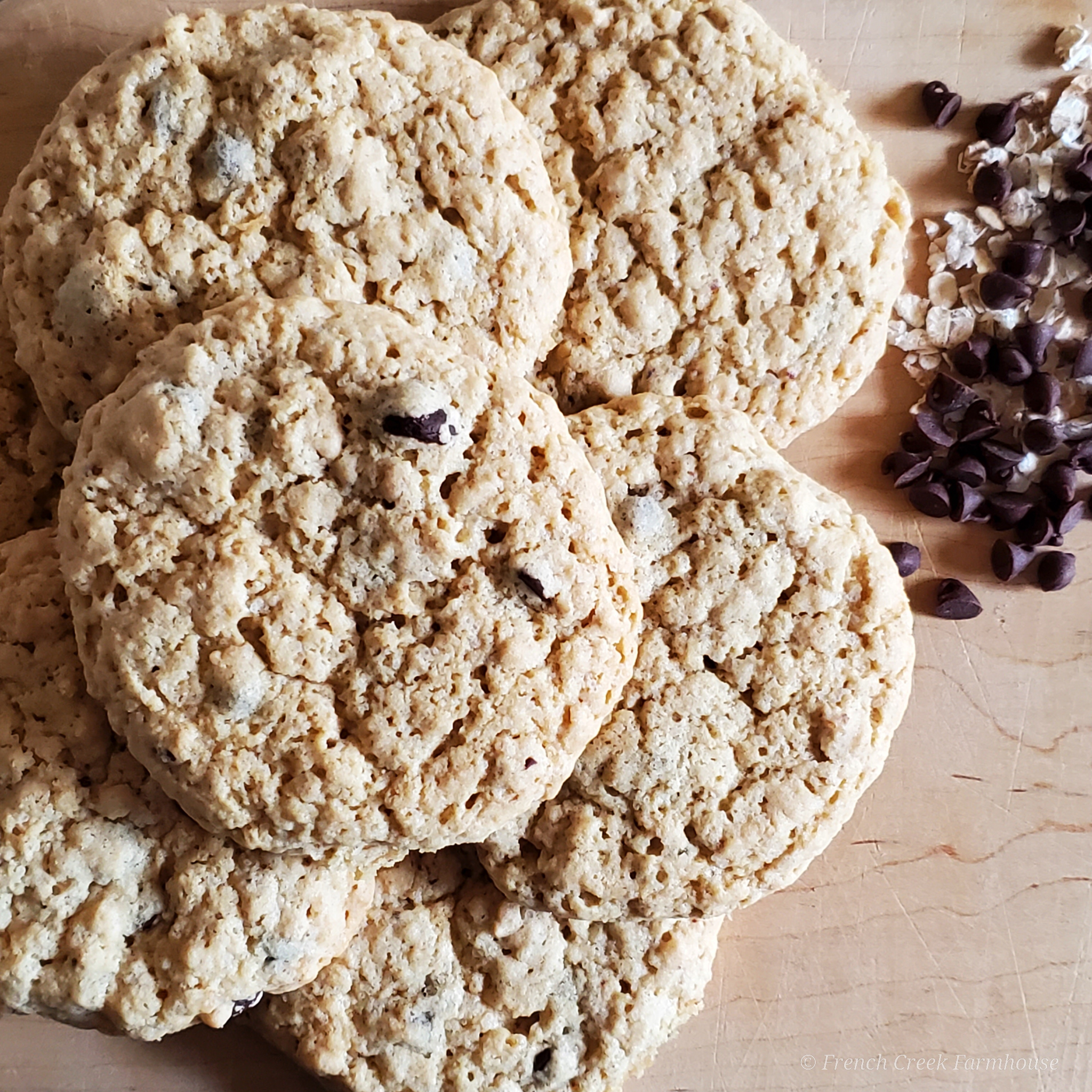 Stack of Cookies on Rustic Wooden Board