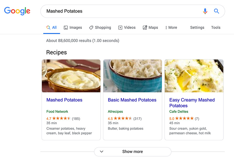 Example of recipe carousel in Google search results