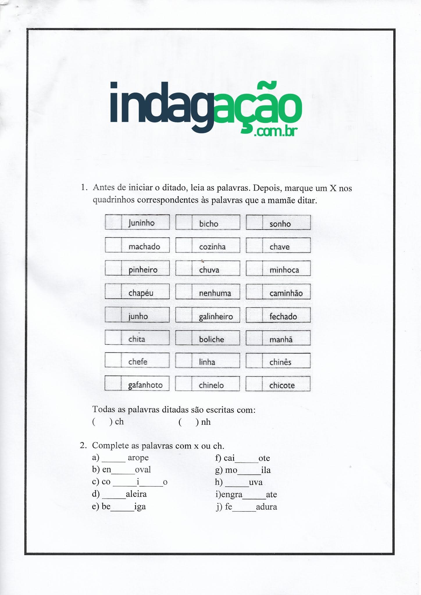 Atividade de Português: Ortografia CH, LH, NH