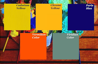 Pablo Picasso's monochromatic color palette that he used during crating the Blue Room painting in his Blue Period, 1901.