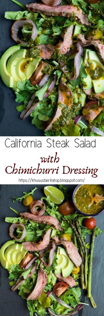 California Steak Salad with Chimichurri Dressing #vegan #recipevegetarian