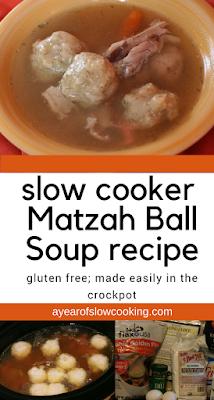 Homemade from Scratch crockpot slow cooker matzah ball soup recipe. Gluten Free instructions for the matzah dough included; from ayearofslowcooking.com