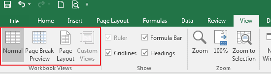 Workbook Views Excel