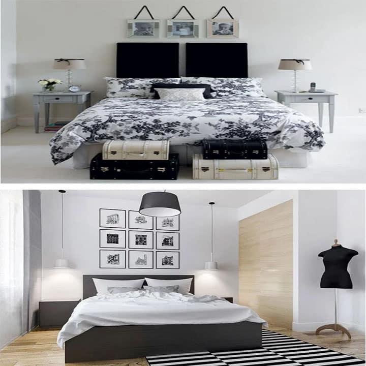 غرفة نوم باللون الأبيض مع الأسود