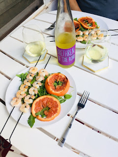 Winc Brethren of the Road Gewürztraminer wine and Grilled Scallops Skewers with Ruby Red Grapefruit with Chile Glaze recipe | brazenandbrunette.com