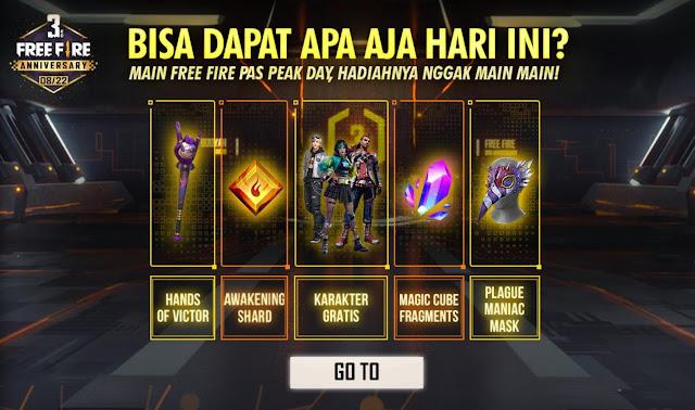 Hadiah Peak Day Free Fire 3rd Anniversary Magic Cube Karakter dan Banyak Lagi