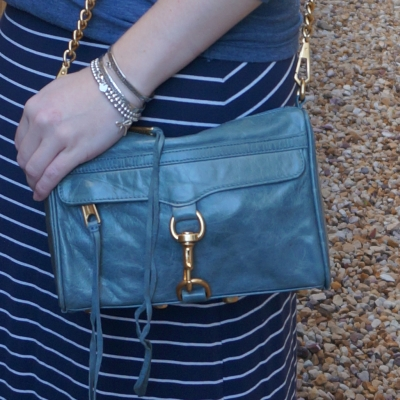 navy stripe maxi skirt with Rebecca Minkoff 2012 sky grey mini MAC bag gold hardware | away from the blue
