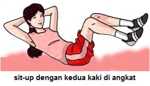 Gambar sit-up dengan kedua kaki di angkat
