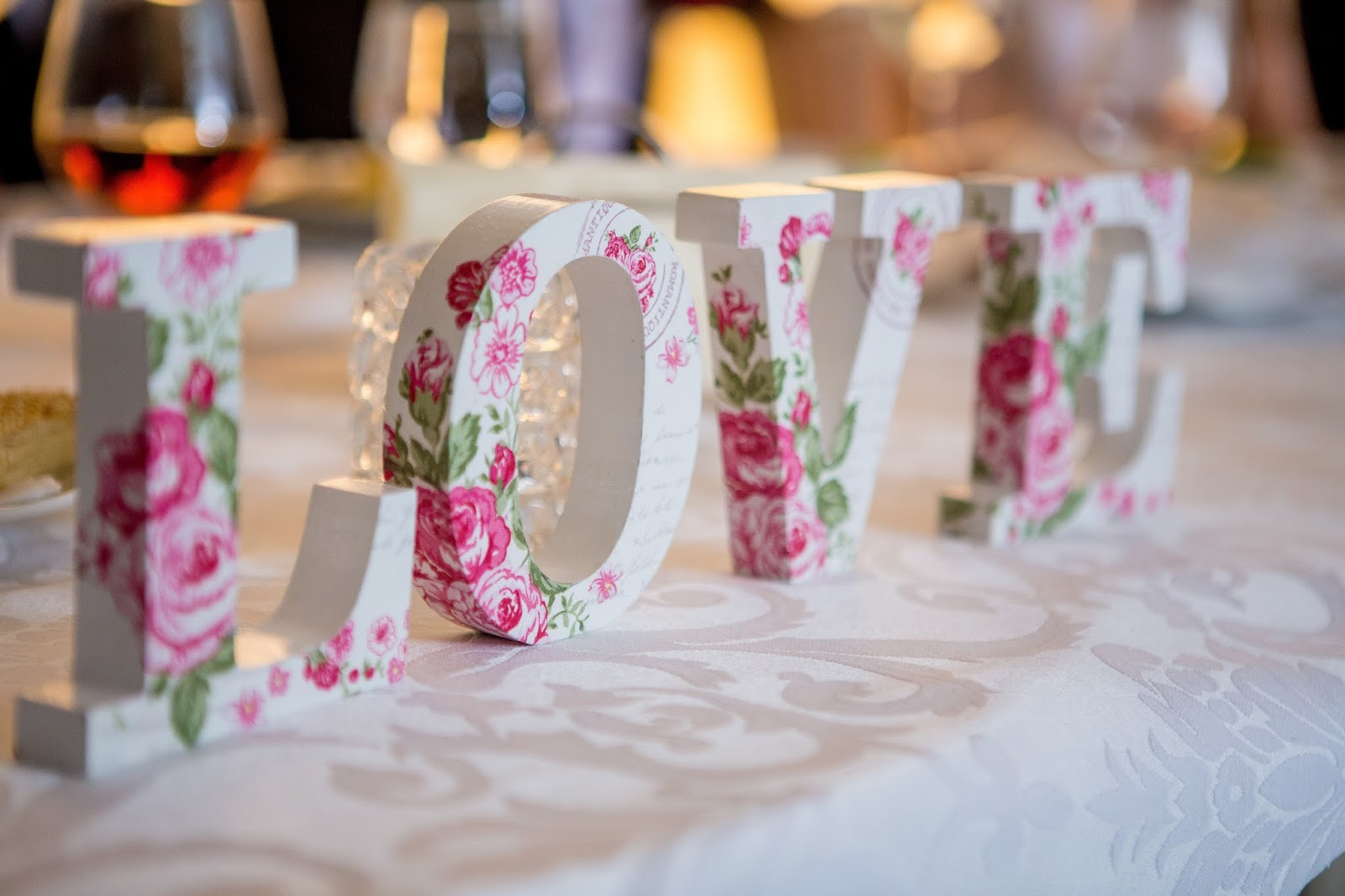 White and Pink Floral Freestanding Love Letter Decor, love images