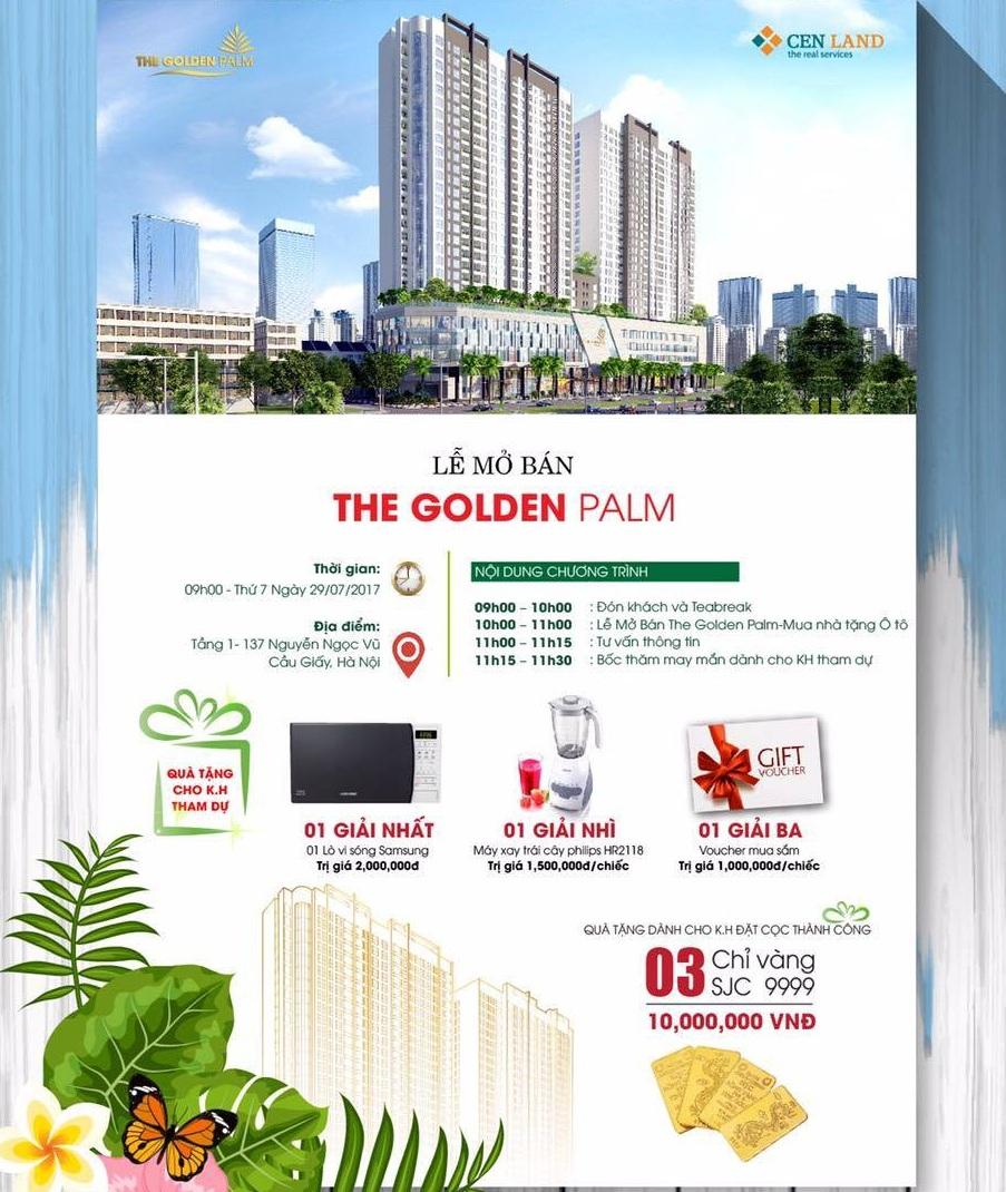 Quà tặng hấp dẫn dành cho khách hàng mua căn hộ The Golden Palm