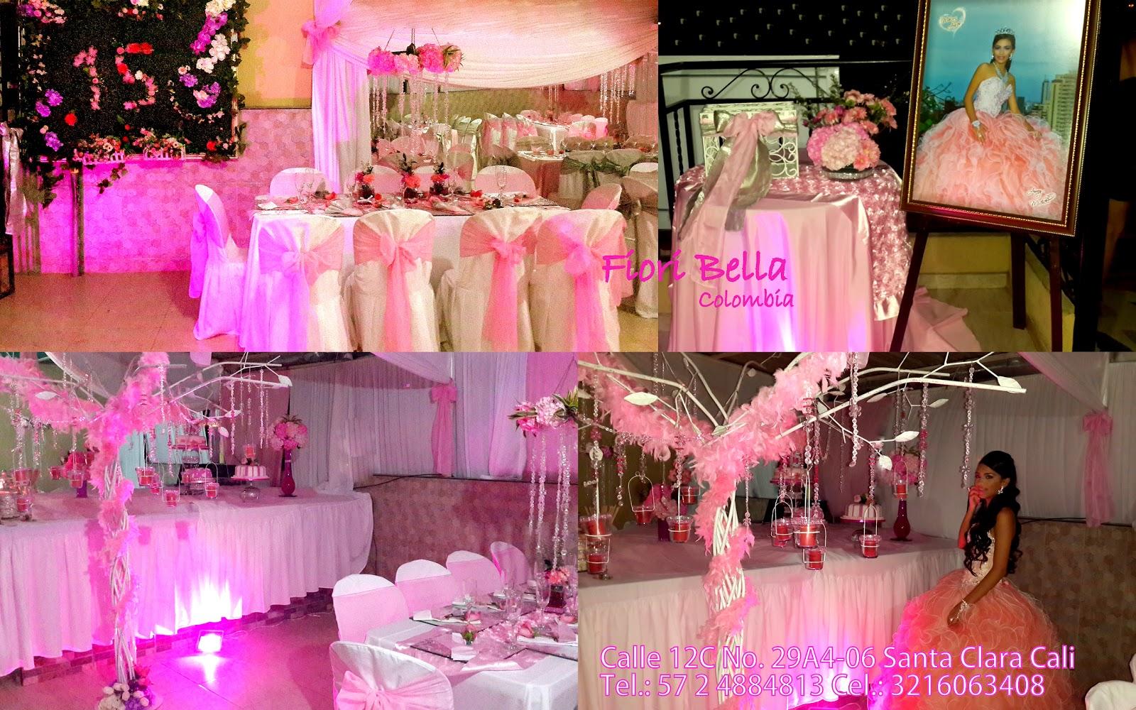Decoracion 15 a os rosa centros de mesa colgantes for Decoracion quince anos