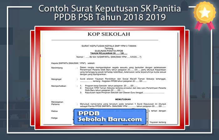 Contoh Surat Keputusan SK Panitia PPDB PSB Tahun 2018 2019 Format Doc