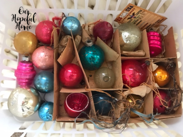 vintage glass Christmas ornaments basket