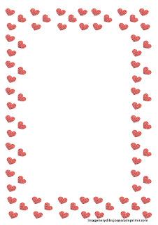 hojas con borde de corazon  Hojas decoradas para escribir
