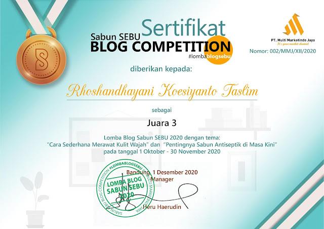 juara lomba blog sabun sebu