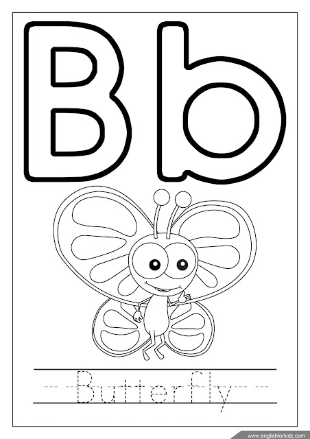 Alphabet coloring page, letter b coloring, b is for butterfly