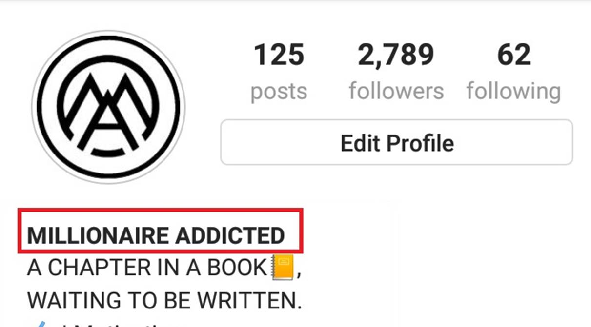 selecting name on instagram, millionaire addicted