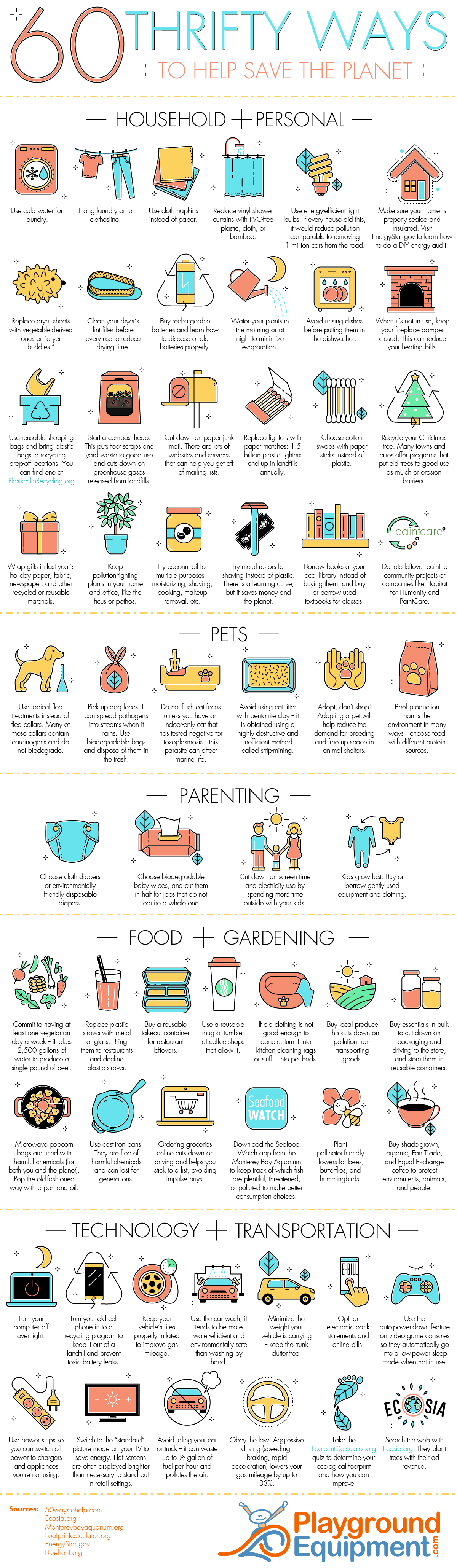 60 Thrifty Ways You Can Help Save the Planet on Earth Day #Infographic