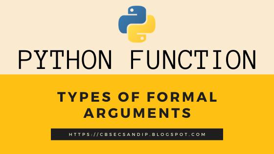 Types of Formal Arguments