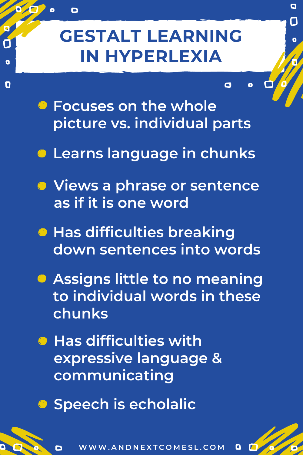 An overview of gestalt learning in hyperlexia characteristics