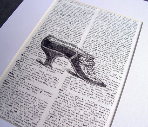image dictionary page art print vintage shoe womens two cheeky monkeys