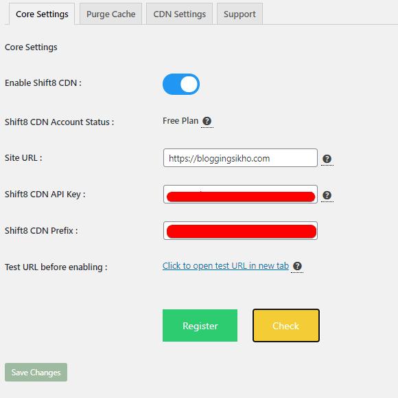 Shift8 CDN WordPress Plugin Setting