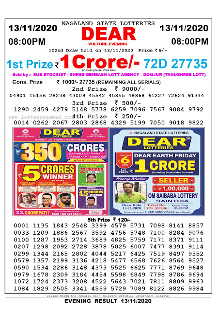 Lottery Sambad 13-11-2020 Today Results 8:00 pm, Nagaland State Lottery Sambad Today Result 8 pm, Sambad Lottery, Lottery Sambad Live Result Today