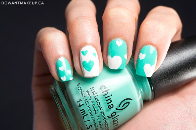 Valentine's Day nail art teal white hearts