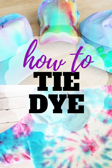 Step by step tutorial and video on how to tie dye tees and hats.