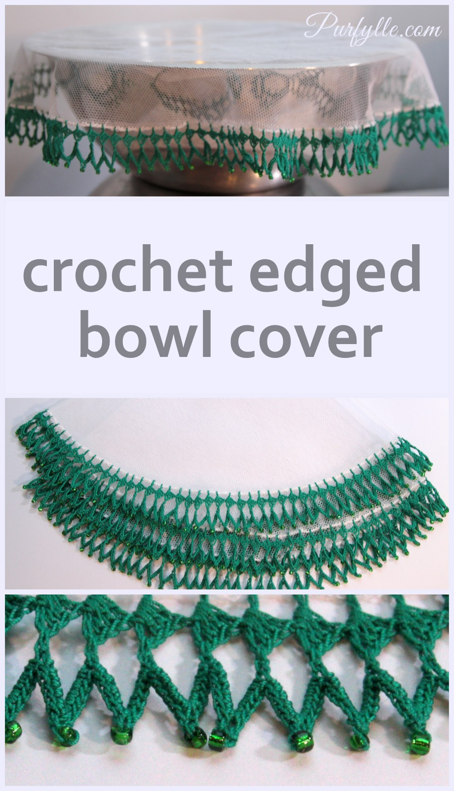 Crochet Edged Bowl Cover with seed beads