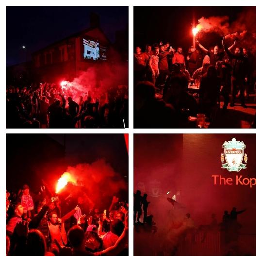 احتفال جماهير ليفربول بالتتويج