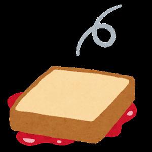 落ちるジャムトーストのイラスト(ジャムが下)
