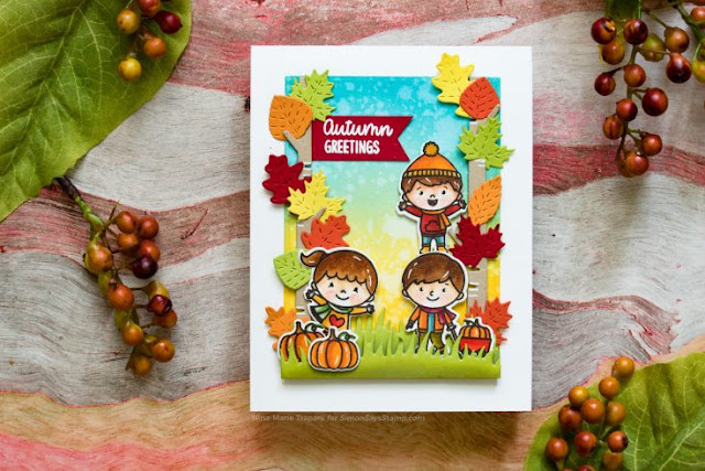 Sunny Studio Stamps: Fall Kiddos Rustic Winter Dies Customer Card by Nina-Marie