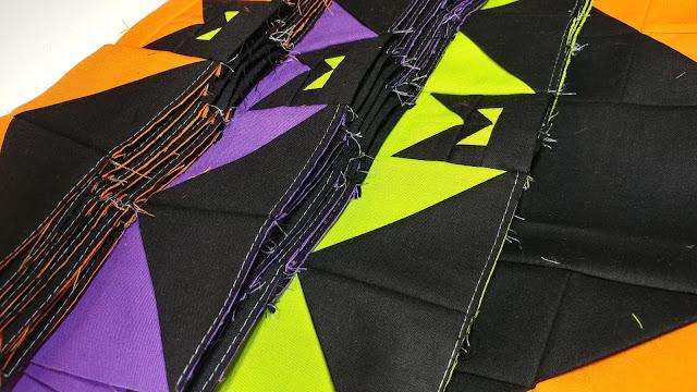 Sewing bat quilt blocks