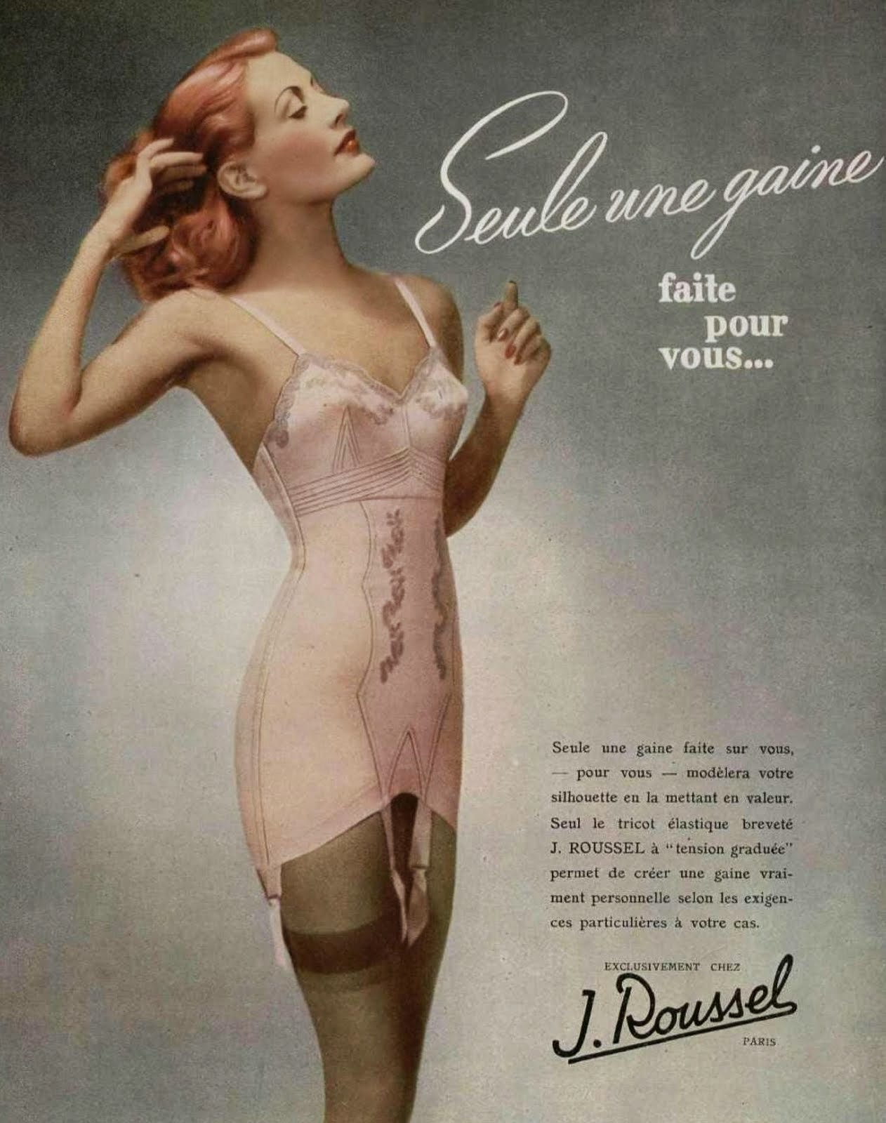 1940s pink french girdle corset vintage advertisement