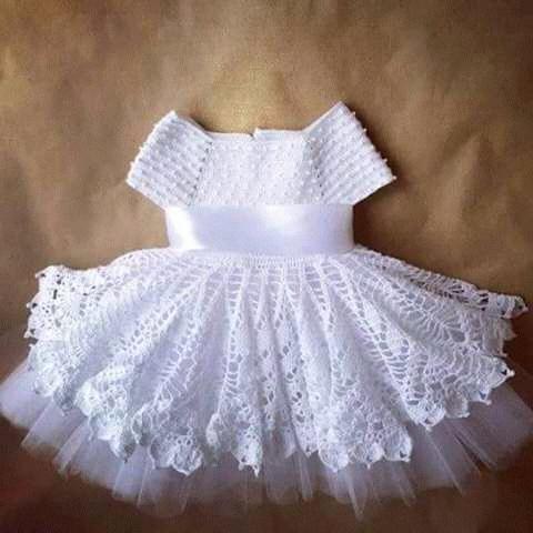 Patrón #1565: Vestido de Niña a Crochet