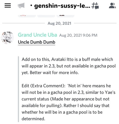 Itto Genshin Impact leak