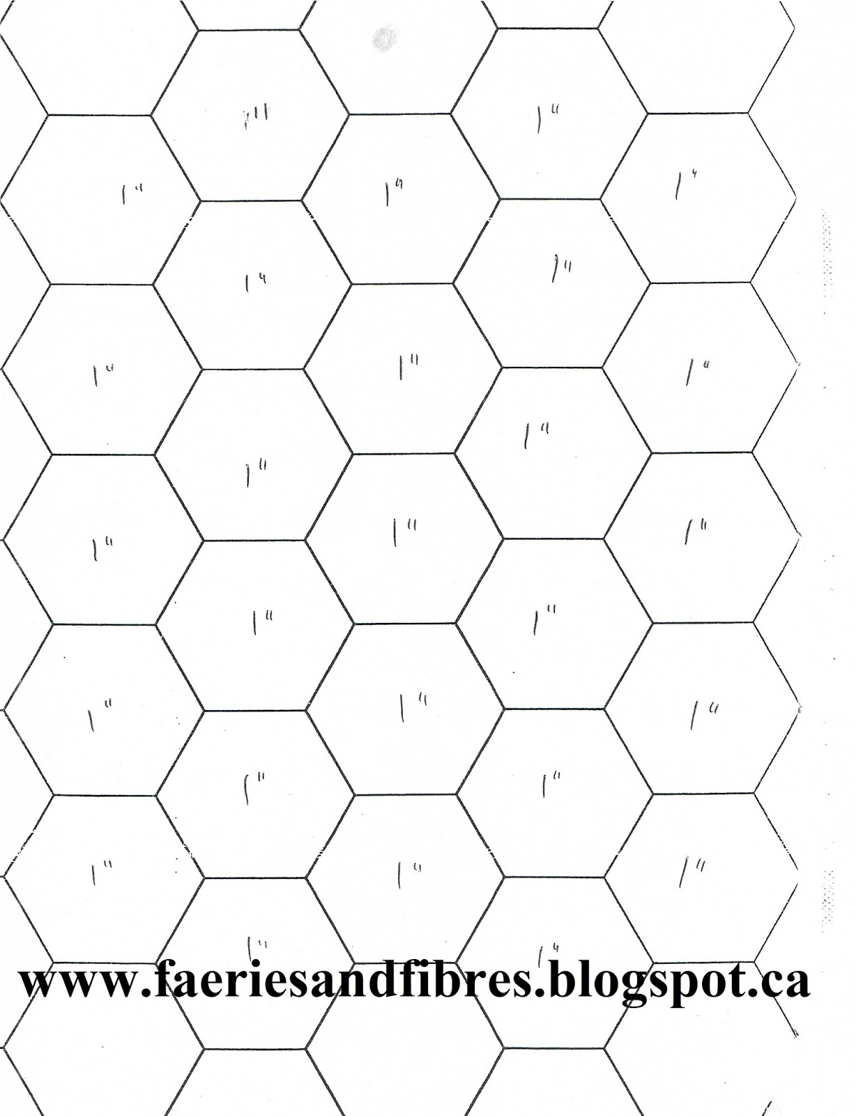 3 inch hexagon template - faeries and fibres easier than pie and easier than pie