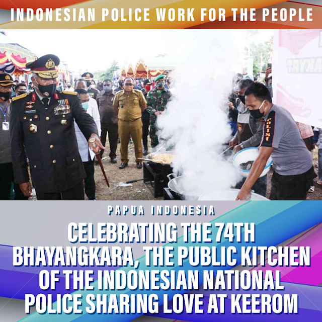 The Public Kitchen of the Indonesian National Police Share Love at the 74th Bhayangkara Anniversary