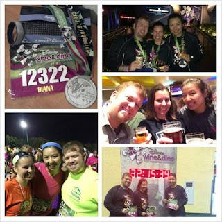 My husband, best friend, and me running runDisney's Wine and Dine Half Marathon
