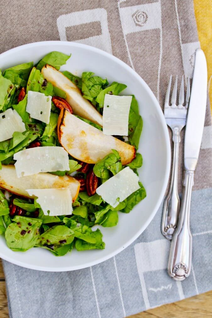 Roasted Pear, Parmesan, and Spiced Pecan Salad with Arugula and balsamic