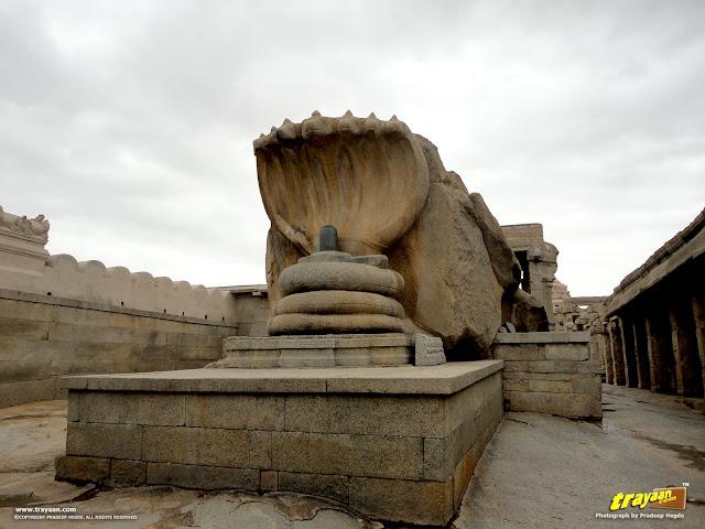 The nearly 12 feet high Naga Linga, or the huge serpent shielding the Shiva Linga inside the Veerabhadra Swamy Temple complex at Lepakshi, in Andhra Pradesh, India