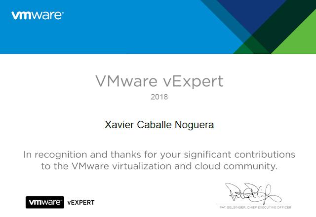 Xavier Caballe Noguera vExpert 2018 - Certificate.